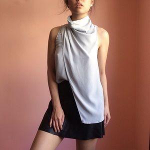 C/MEO Collective Gray Draped Silk Top